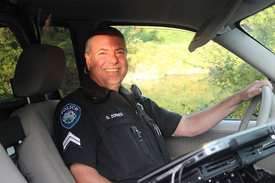 Officer Gary Zornes sits in his police cruiser, ready for action. He has served in the force for 34 years and hopes to continue for at least two more before retiring.