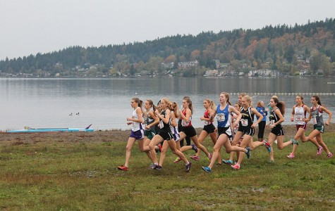 Seniors Amber Rose, Katie Diekema and junior Bailey Fjestul battle for position with the rest of the leaders during the KingCo meet at Lake Sammamish State Park.  The girls team finished in third place overall while the boys team finished in second.  Both teams are seeking their first state appearance as a team since 2002.