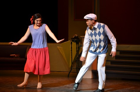 """Junior Anna Novack and sophomore Jack Engelbrekt break out in song and dance in the number they performed as a duo. The two acted as lovers in the show """"The Boy Friend"""" and got married at the end of the production."""