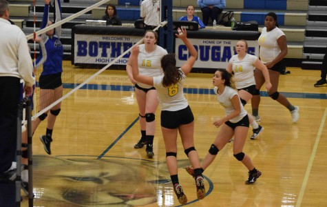 Senior captain Haley Harris makes an aggressive play during the match against Bothell. As a star player of the volleyball team, Harris has been imperative for pushing the team to State this season.
