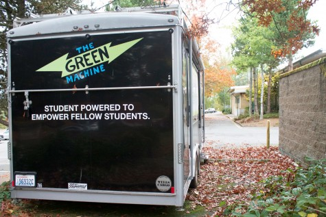 The Green Machine is outside near the front entrance of  school. It has been there ever since Mike Wierusz joined the school teaching staff three years ago.