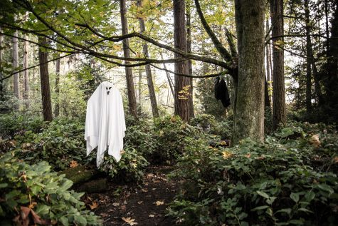 A ghost hangs in the forest at Haunted Trails.
