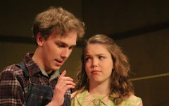 Don MacDonald (senior Simon Jones) and Betty MacDonald (senior Katie Orr) discuss the future of their chicken farm.
