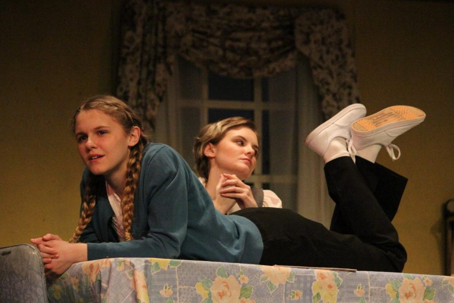 Joan MacDonald (senior Lillybeth Held) hits her sister Anne MacDonald (freshman Daisy Held) in an attempt to help her lose weight.
