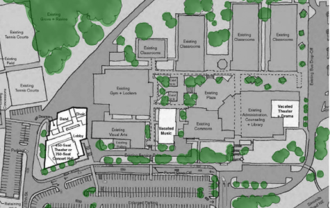 This draft of Option C shows the new separate performing arts building in white and the better traffic flow with directional arrows. This project will be executed within the next four years if the 2018 Capital Projects Bond is passed by voters in February 2018. Photo courtesy of Northshore School District.