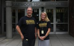 Assistant principals Joe Mismas and Erica Hill greet students with a smile outside the front doors. Both Mismas and Hill say they have a passion for helping students succeed.