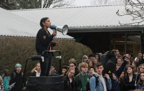 Junior Anisha Chowdhry speaks out against gun violence at the student walkout on Wednesday, March 14. Schools throughout the U.S. participated in the walkout to support the survivors of the Parkland shooting and initiate legal change to gun laws.