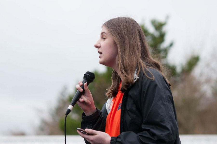 Junior Beatrice Duchastel de Montrouge was one of the speakers at the walkout.