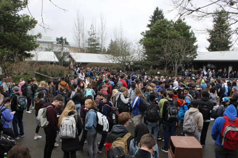 The majority of the student body participated in the March 14 walkout. Those who chose not to participate stayed indoors.