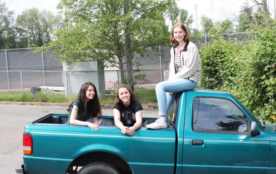 From left to right, seniors Surya Hendry, Megan Munson and Maya Holt sit in senior Ewan Brown's truck for their final picture as a triumvirate.