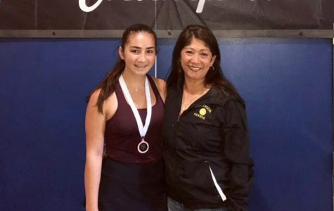 After the state tournament, Brooke Demerath smiles with the girls tennis coach, Jane Demerath, who is also her mother. Brooke Demerath said that she is not only supported by, but also inspired by her family.