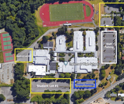 A map of the student parking lot as seen in the Parking and Transportation section of the Inglemoor website.