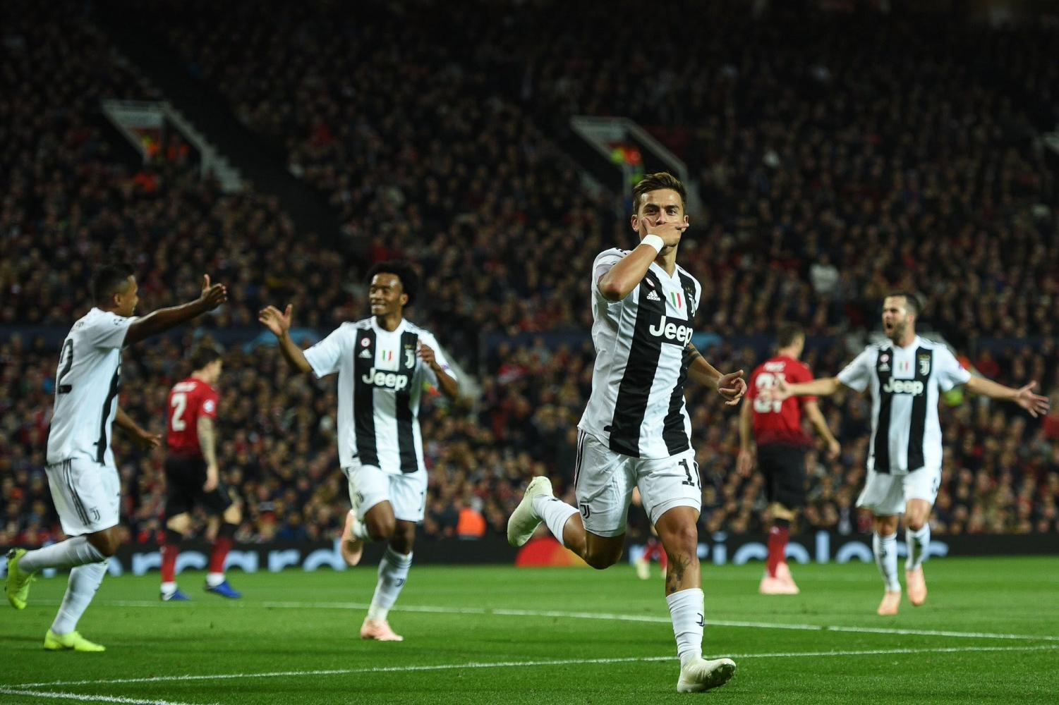 Paulo Dybala celebrates after giving Juventus a 1-0 lead against Manchester United.