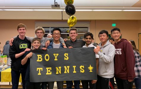 From left to right, district players senior Gavin Wright, sophomore Adam Walter, senior Oliver Wolff, senior Brian Xie, junior Matt Cummings, sophomore Mustafa Khan, senior Edward Xin and freshman Roman Mar celebrated the end of the season with the rest of the team and their parents at the awards ceremony and banquet on Oct. 26. Not pictured is freshman Sreeman Mandapati.
