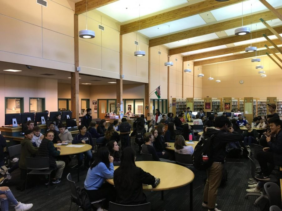 "FBLA officers and members attend a club meeting on Oct. 15. ""I don't think any of us believed we would go from being the largest club at Inglemoor to not existing this year,"