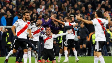River Plate players celebrate their victory after the final whistle was blown.