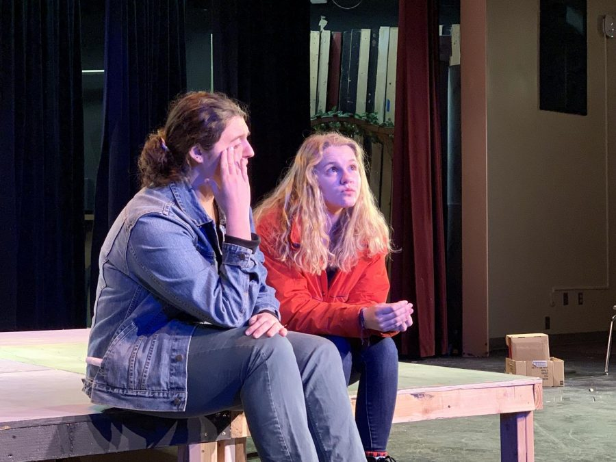 With 60 seconds to come up with a plot and resolution, sophomores Izzy Guyer and Daisy Held improvise a scene during their weekly improv practice.
