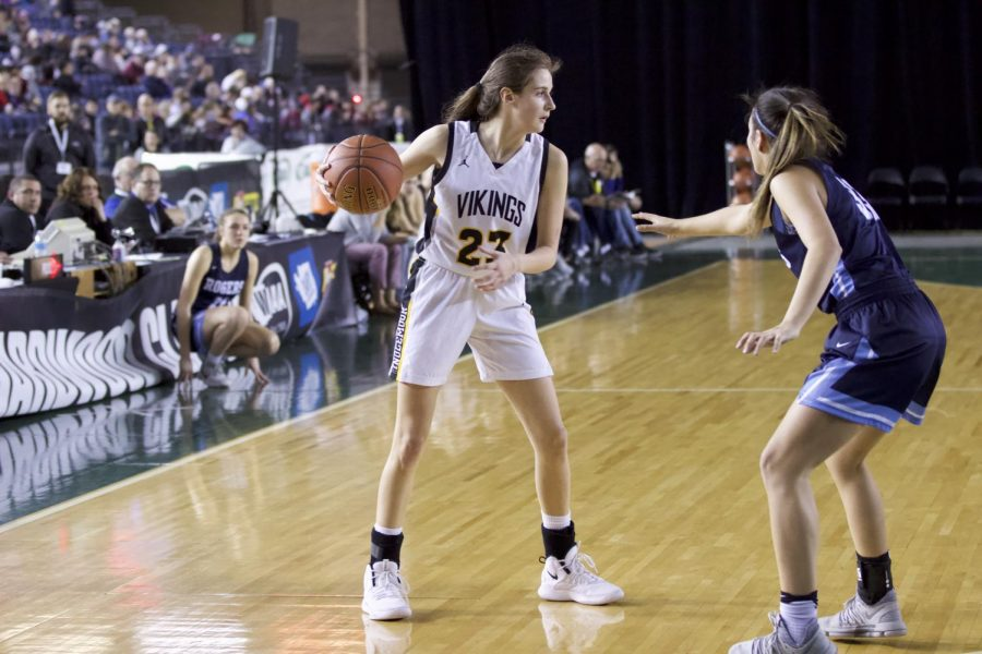 Jenna Troy plays at the Tacoma Dome on Feb. 27. Inglemoor won the game with a final score of 65- 54.