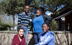 Members of the Black Student Union pose for a picture after one of their weekly Wednesday after school meetings in room 926. Clockwise from top left: Dédé Stewart, Jaeonna Johnson, Osayi Stewart, Anisha Chowdhry.