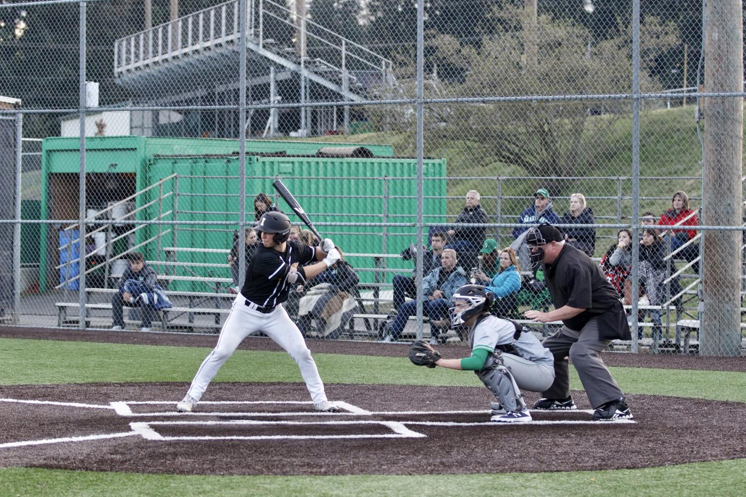 Senior Sean Mulcare stands at the plate against Woodinville on April 1st. The Vikings went on to win 5-0, the sixth win in a string of eight straight.