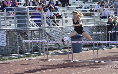 Junior Aina Engelbrekt jumps over the 100 m hurdles, setting a new PR at 17.45 seconds.