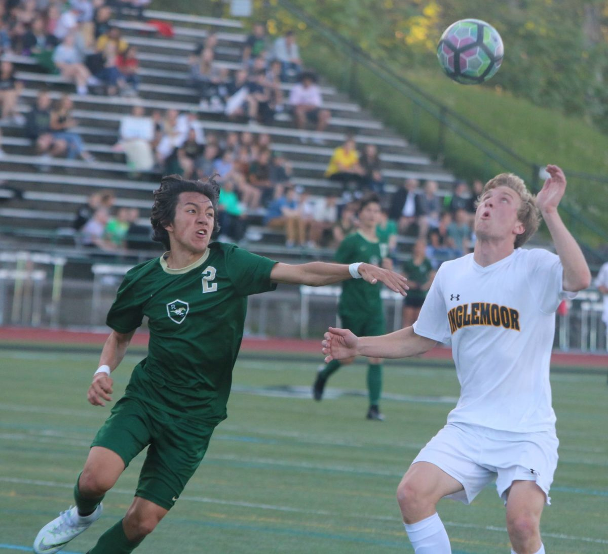 Senior Gabe Fahling heads the ball during the Vikings match versus Redmond High on May 7, they would go on to win 1-0.