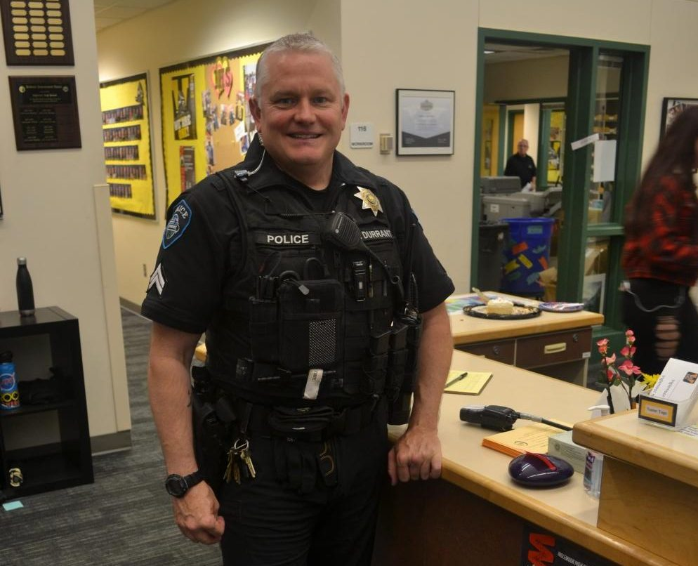 School Resource Officer Jeffrey Durrant stops by the main office while patrolling campus during lunch.