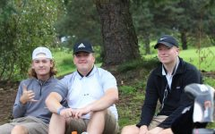 From left to right: Kyle Shea, Auggie Engwall and Braden Towle pose for a photo on the golf course. Photo by Selin Asan