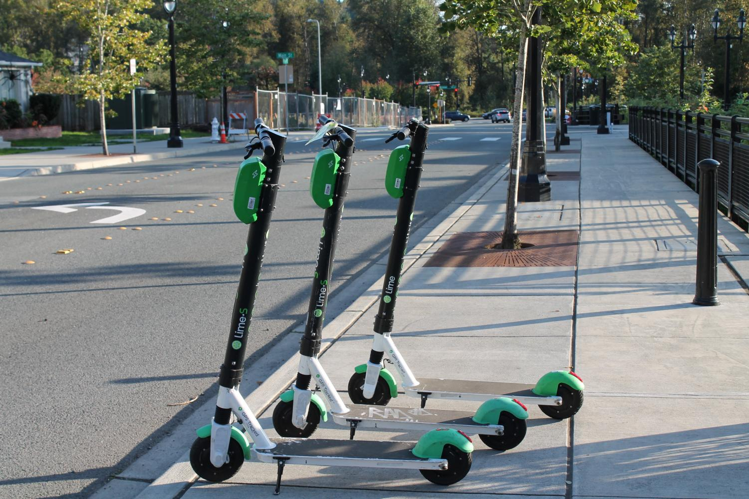 Lime Scooters lined up on the streets of Downtown Bothell, offering an accessible mode of transportation. Photo by Sofia Leotta