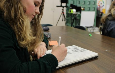 Lily van Veen works on a sketch in her fifth period IB Visual Arts class. Photo by Rahima Baluch