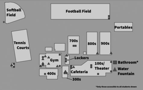 This image illustrates where bathrooms and water fountains accesible by students are located on campus. Art by Kellen Hoard