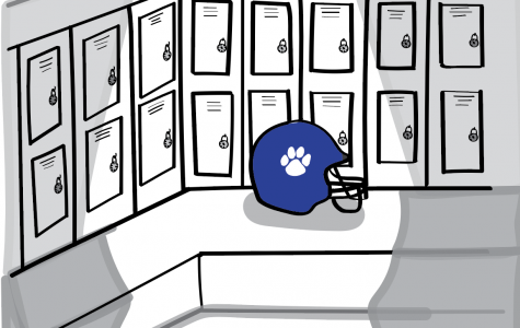 Illustration of a football helmet in the boys locker room. Art by Margaret He