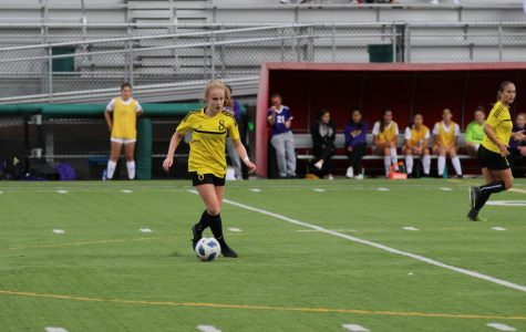 Senior Katelyn Laccinole on the field at one of team's games. Photo by Mia Tavares