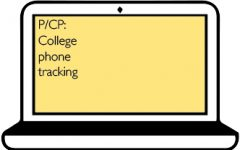 Point/Counterpoint: college phone tracking graphic for web. Art by Priya Annapureddy and