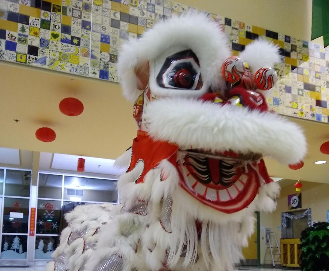 The Vovinam University of Washington Lion Dance Team performs at Inglemoor's annual Chinese Party on Jan. 31 in the cafeteria. Inglemoor's team was unable to perform due to the snow days. Photo by Sofia Leotta