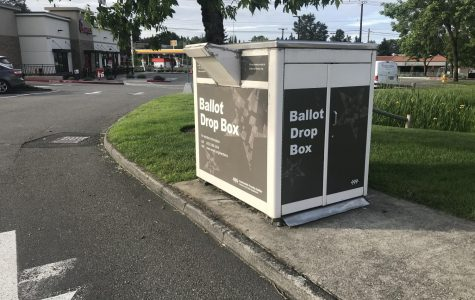 Despite the COVID-19 pandemic, the 2020 presidential election continues. With the election happening in Nov. households in the state of Washington will receive ballots that can be mailed in or dropped off at ballot boxes like this one in Canyon Park Plaza. Photo by Sonya Sheptunov