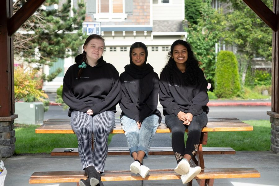 Sonya Sheptunov, Rahima Baluch and Aditi Jain say their final goodbyes as Nordic News editors for the 2019-2020 school year. Photo by Joanna Little