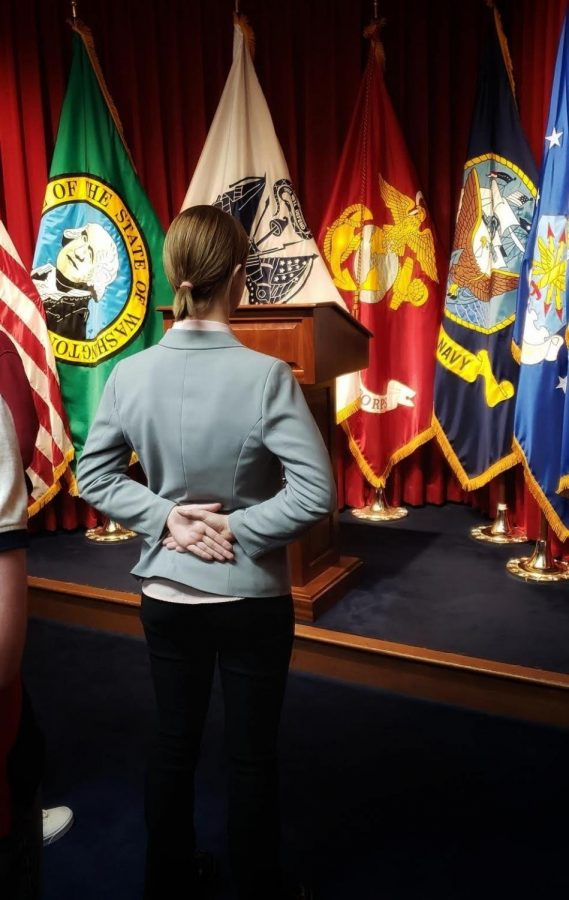 Lilli Wildermuth at her swearing-in ceremony for the air force. Wildermuth plans to serve in the air force for four years before pursuing a nursing degree. Photo Courtesy of Lilli Wildermuth.