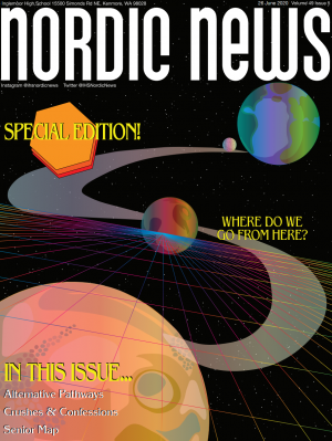 The cover of the senior issue of Nordic News. The senior issue is now available to print. Art by Sonya Sheptunov.
