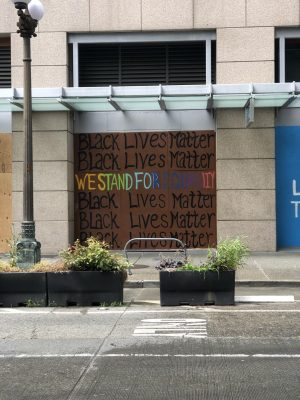 Graffiti lines the walls of Seattle, pledging silent support for the BLM movement. Photo by Rahima Baluch