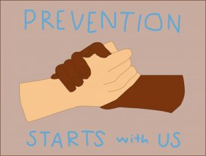 The CDC classifies suicide as 100% preventable. The best way to avoid it is by standing together. Art by Rory Knettles.