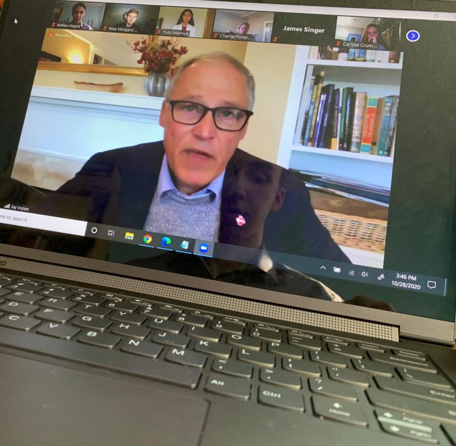Jay Inslee speaks to a group of high school students about his solutions to various issues, including the lack of diversity in school curriculum, subpar mental health treatment for youth, and racial disparities in school punishments.  Photo taken Oct. 25, 2020 via Zoom. Photo by Kellen Hoard.