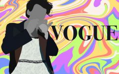 Harry Styles' cover pose in the lace-trimmed baby blue dress. Styles made history as the first solo male to be featured on the cover of Vogue magazine.  Art by Mia Tavares.