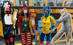 Mirian Galeana-Pérez brings joy to students by dressing up in colorful costumes as she delivers library books to Frank Love Elementary Photo and art by Gloria Shen.