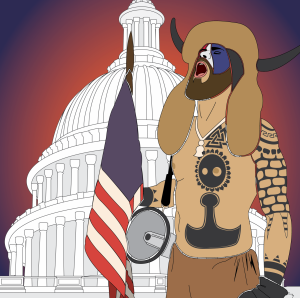 The nation reels after  a pro-Trump mob stormed the U.S. Capitol Building on Jan. 6. Art by Carter Ross.
