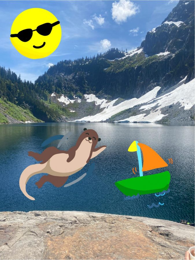 Three options for spring break: Lake Serene, the Seattle Aquarium, and a boat ride! Photo and art by Gloria Shen.