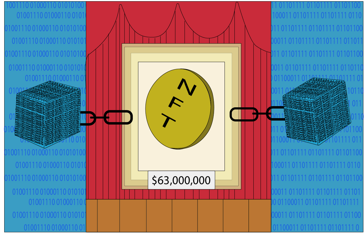 NFTs have shaken up the art world with record auction sales through the technology of blockchaining. Art by Tyler Vuu.