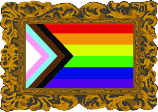 """In 2018, a new pride flag called the """"Progress Flag"""" was designed to honor LGBTQ+ and non-white communities. Including the six stripes of the previous pride flag, the colors of the transgender pride flag and stripes of black and brown to represent people of color, it is used as a part of a drive to be more inclusive of the expansive breath of identity. Art by Rory Knettles."""